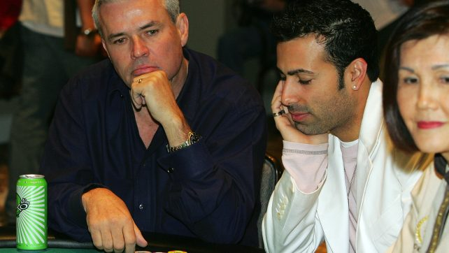 LAS VEGAS, NV - MARCH 08: Professional wrestling personality Eric Bischoff (L) participates in the Jeff Gordon Foundation Poker Classic at Caesars Palace Marsh 8, 2006 in Las Vegas, Nevada. The foundation benefits several charities dedicated to helping children with chronic illnesses and their families. (Photo by Ethan Miller/Getty Images)