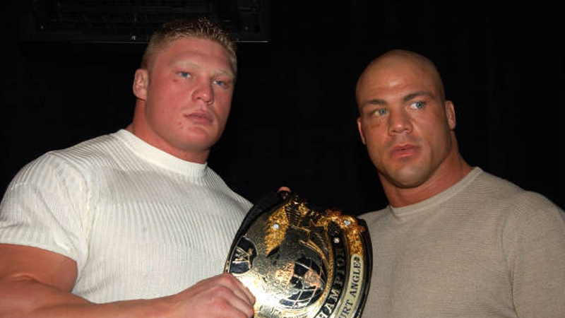 Brock Lesnar and Kurt Angle (Photo by Theo Wargo/WireImage)